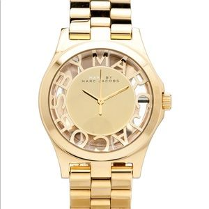 """Marc Jacobs """"Henry"""" Gold Skeleton Watch"""